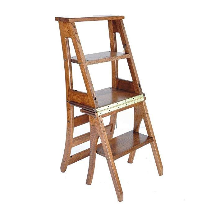 Amazon Com Zhwei Step Ladder Modern Furniture Wood Folding Ladder Chair Fold Up Library Steps Ladde Modern Wood Furniture Furniture Dining Chairs Step Ladders