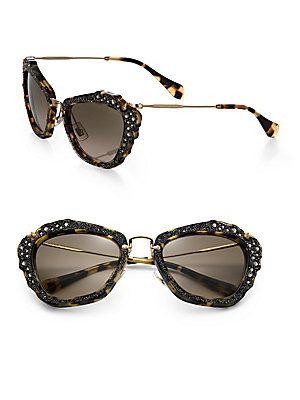 06cc9183bbb8 Miu Miu Embellished 55MM Cat s-Eye Sunglasses - Light Havana ...