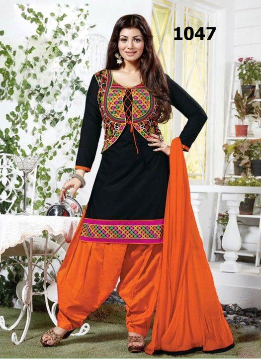 2cb2174cc Kreckon Black And Orange Cotton Jacket Style Salwar Suit