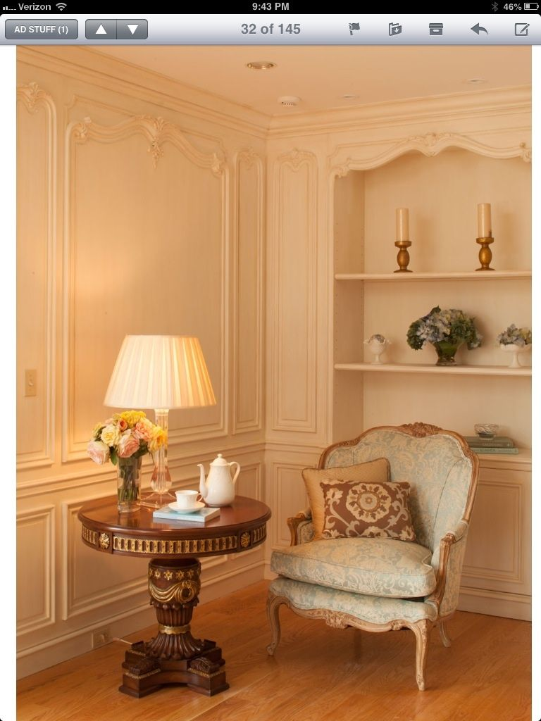 Sitting area in hand carved Boiserie master bedroom. Designed & manufactured by Auffrance.