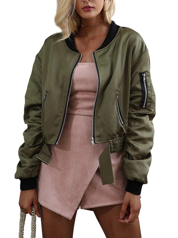 Women S Casual Short Bomber Jacket Classic Flight Coat Outwear Army Green C1185ieiine Short Bomber Jacket Bomber Jacket Jackets [ 1500 x 1125 Pixel ]