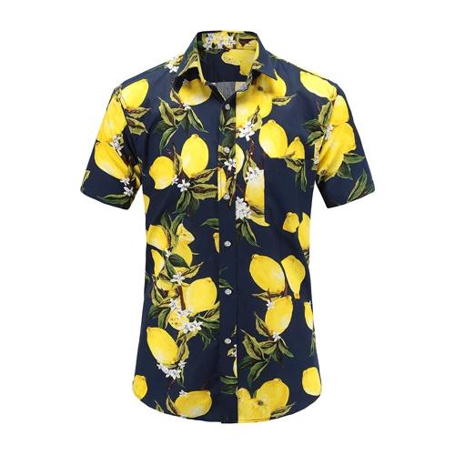 Mens Casual Short Sleeve Summer Hawaiian Aloha Shirt Men Button Down Floral Pineapple Print Shirts S-3XL