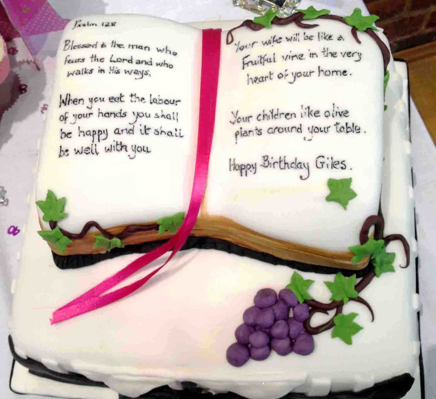 Mans Birthday Cake Blessed is the man Psalm 128 with bible