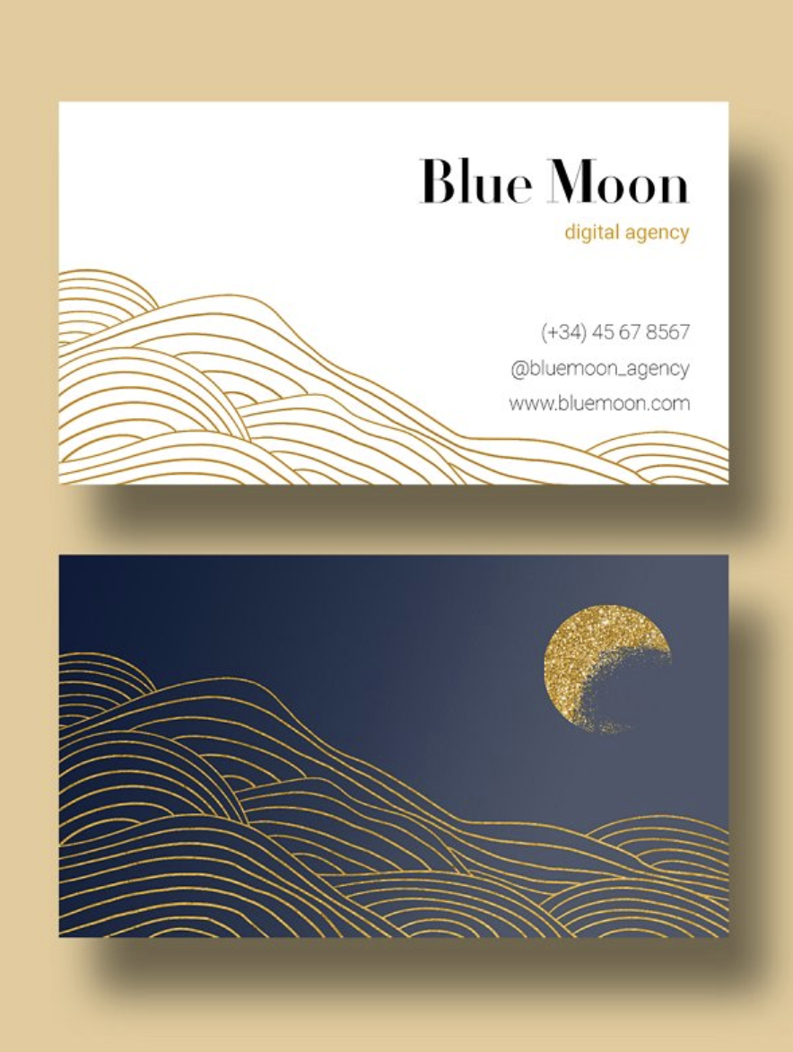 Blue Moon Business Card Design Business Card Inspiration Illustration Business Cards Customizable Business Cards Templates