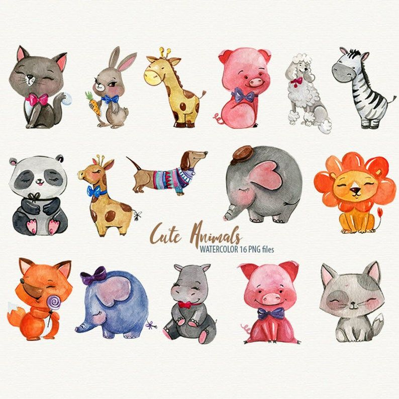 Animal Clipart Sweet Animals Watercolor Clipart Cute Animals Etsy In 2021 Animal Clipart Watercolor Animals Cute Animal Clipart