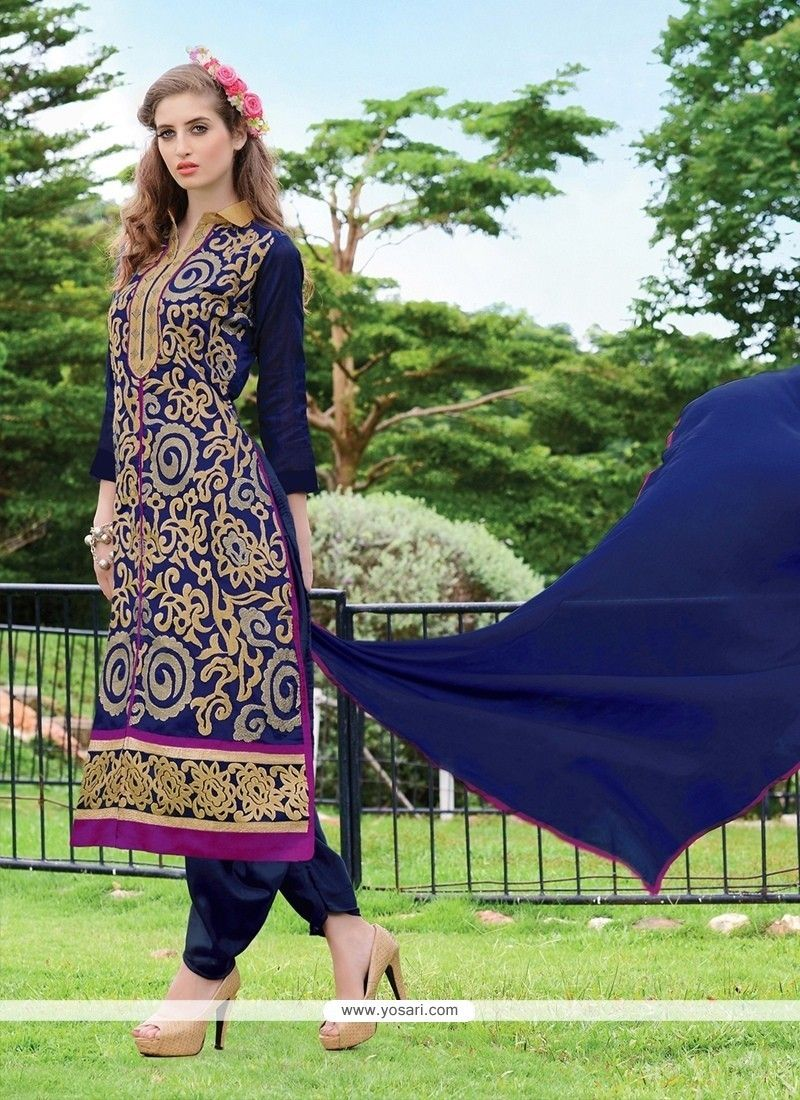 Spellbinding chanderi navy blue lace work designer suit pinterest