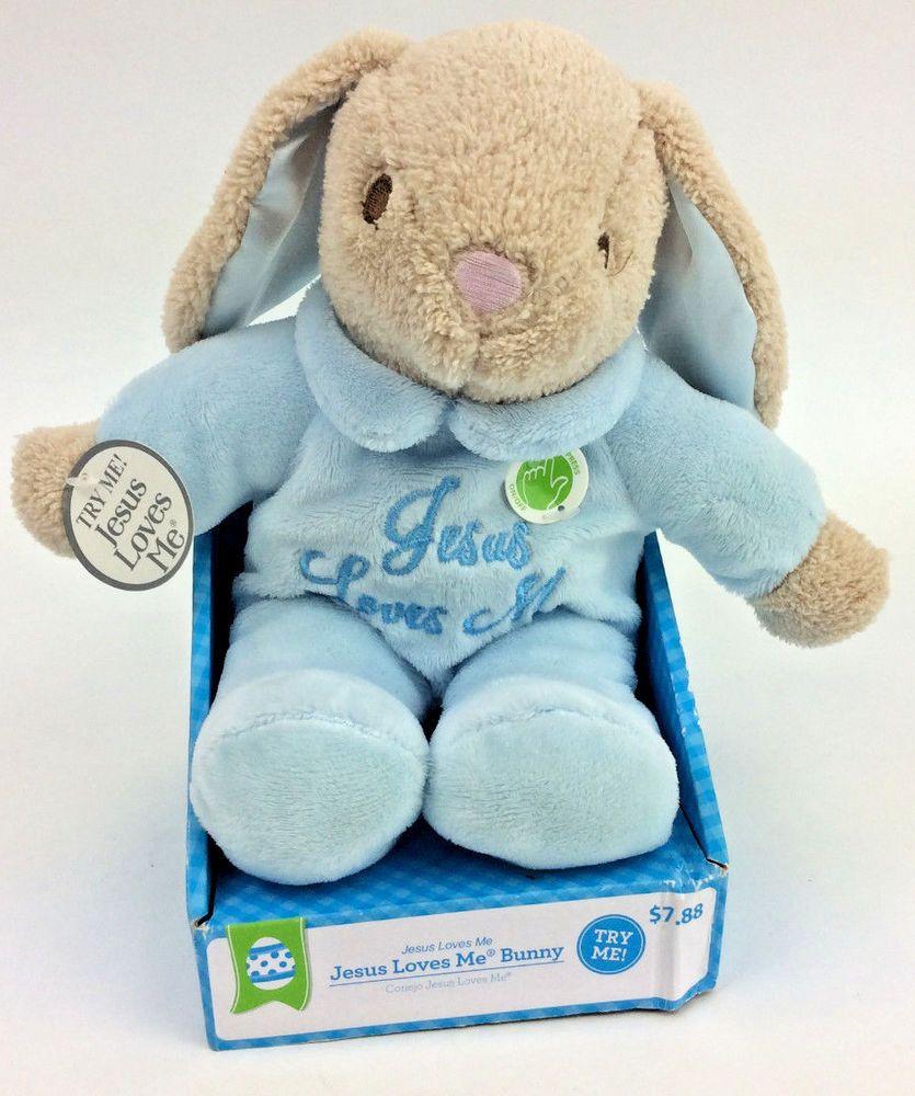 Dan Dee Jesus Loves Me Bunny Rabbit Blue Singing Plush Stuffed Brown