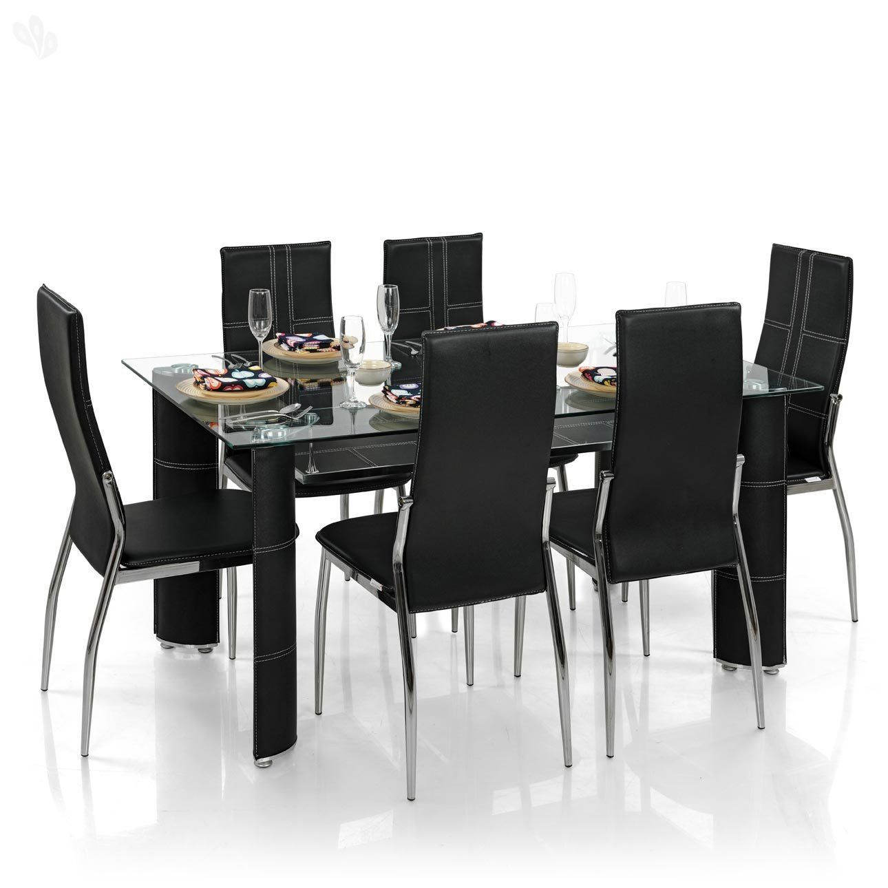 Royal Oak Modern Geneva Dining Set With 6 Chairs Black Table Home And Kitchenware Best Kitchen Liances
