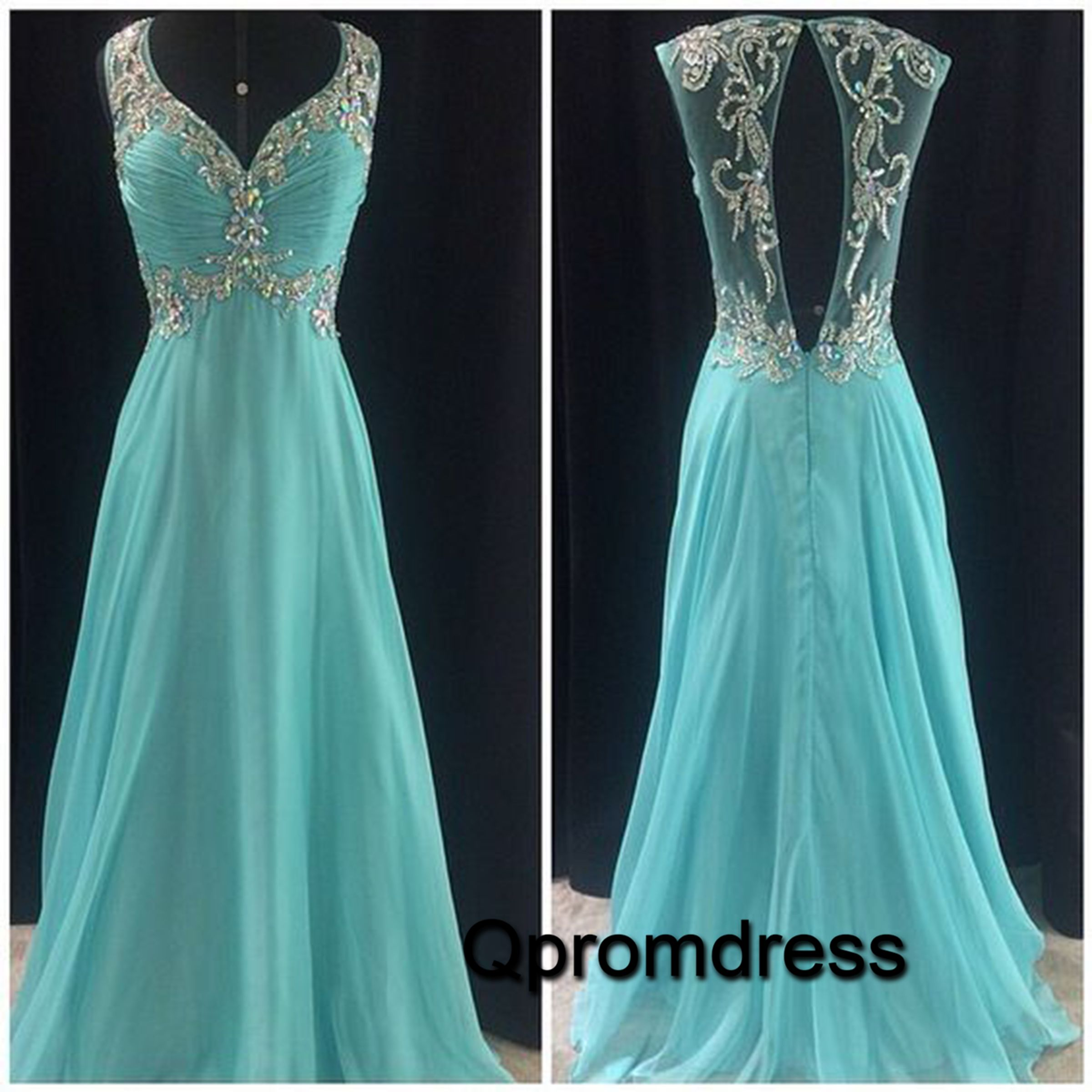Pretty seethrough back mint green sequins chiffon prom dress for