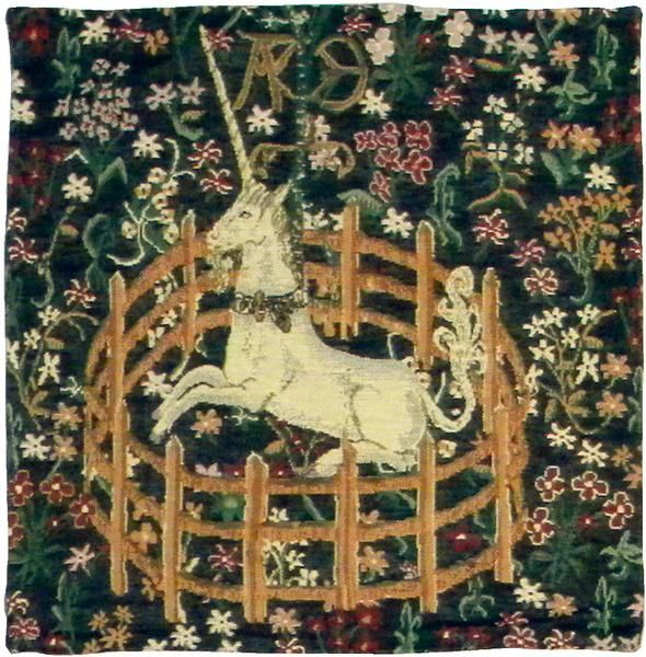 """Woven in Belgium History: Unicorn Belgian cushion cover is inspired by the """"Lady and the Unicorn"""" wall tapestry series. Captured in a pen, this tapestry represe"""