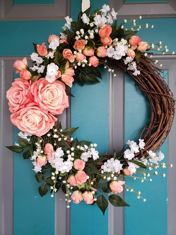 Photo of Summer Wreath Coral Rose Wreath Floral Wreath Grapevine Wreath Mother's Day Wreath Wedding Gift Realtor Gift Gift For Her Bridal Shower Gift