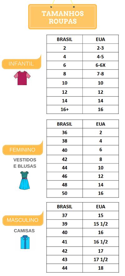 9adcee7fa Tamanho de sapato e roupa EUA x Brasil