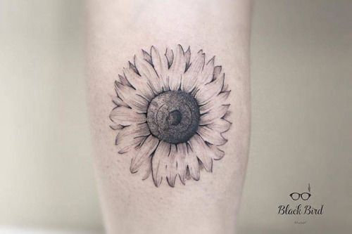 Line Drawing Sunflower Tattoo : Fine line sunflower tattoo on the calf artist luiza