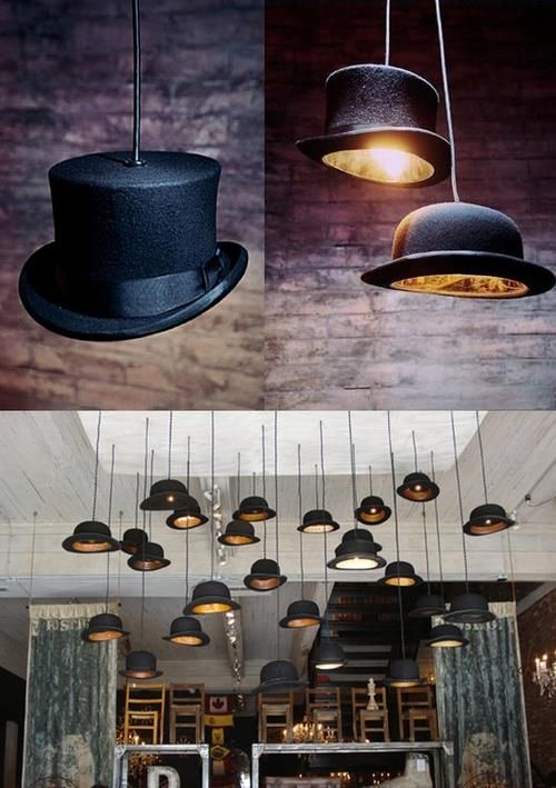 This is awesome! would be great for a library. I want to do this. Get hats from thrift store, drill hole in top for light fixture.