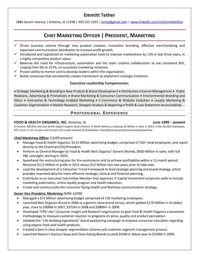 The Top 4 Executive Resume Examples Written by a Professional - chief marketing officer sample resume