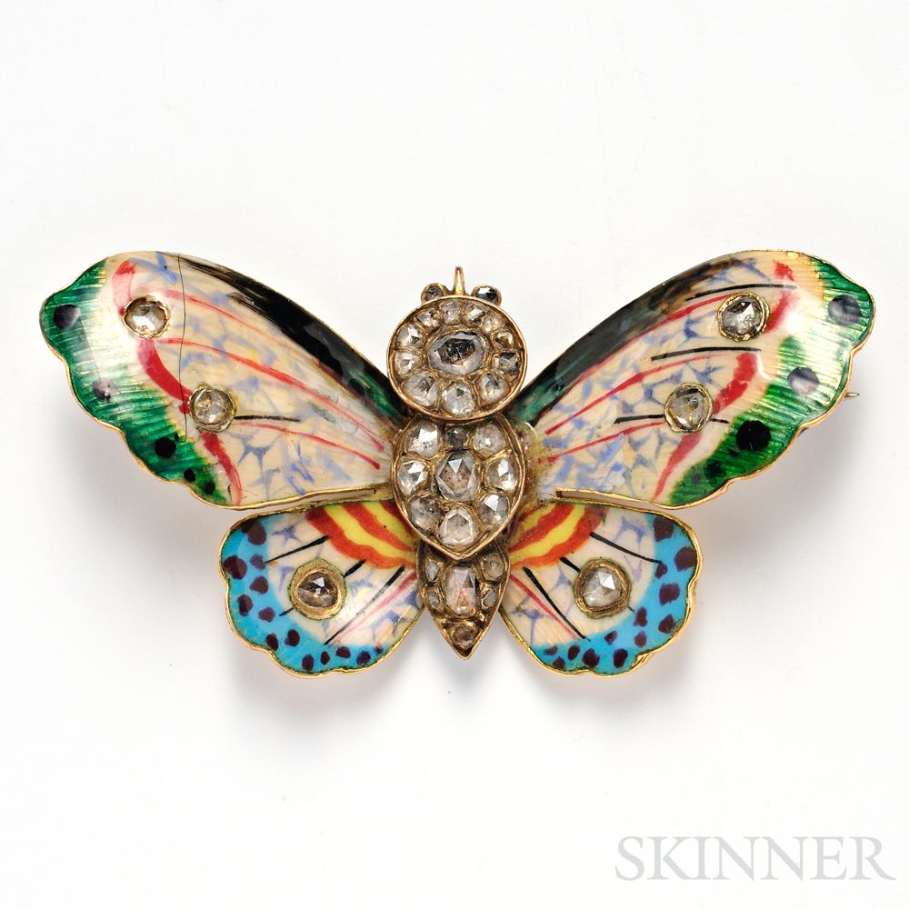 Antique Gold, Enamel, and Diamond Butterfly Brooch Sale