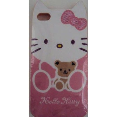 Capa iPhone 4 em silicone Hello Kitty - Rosa. R$30