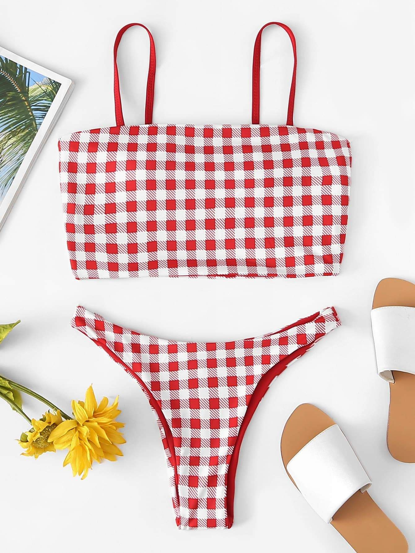 31d58e0754419 Cami Gingham Print Top With High Leg Bikini Set