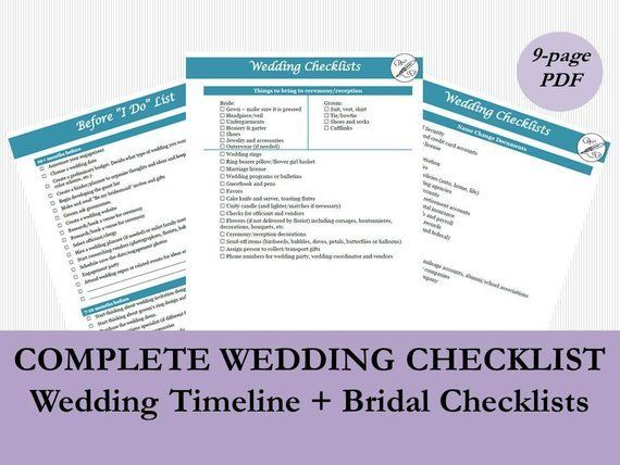 Wedding Planning Timeline Template, Wedding Checklist, Printable