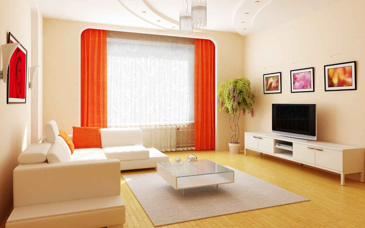 natty white interiors on laminate floor paired with orange window curtains also art paintings on cream wall idea: fascinating bold interior design ideas with classy decoration