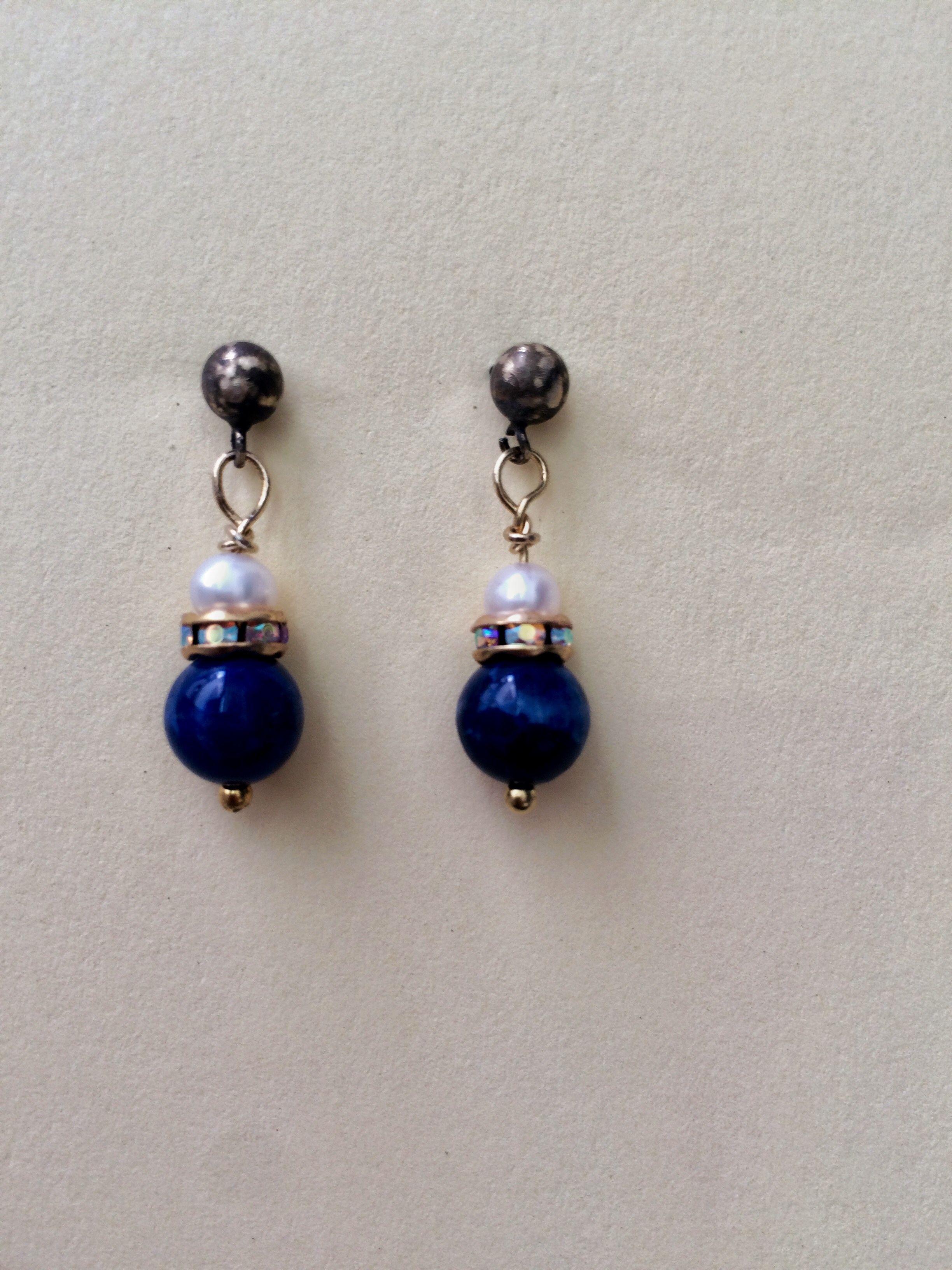 Pendientes lapislázuli, rondeles swarovski y perlas de río