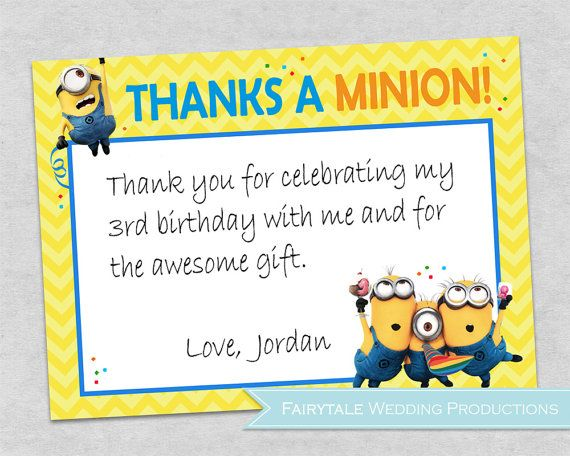 Despicable Me Minions Birthday Party Yellow Chevron Thank You Cards
