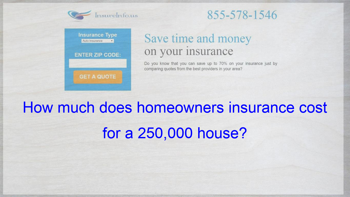 How Much Does Homeowners Insurance Cost For A 250 000 House