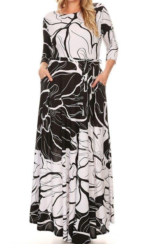 53437c3ef7 Plus Size Black White Abstract Floral Print Pockets BoHo Maxi Dress 1X 2X  3X