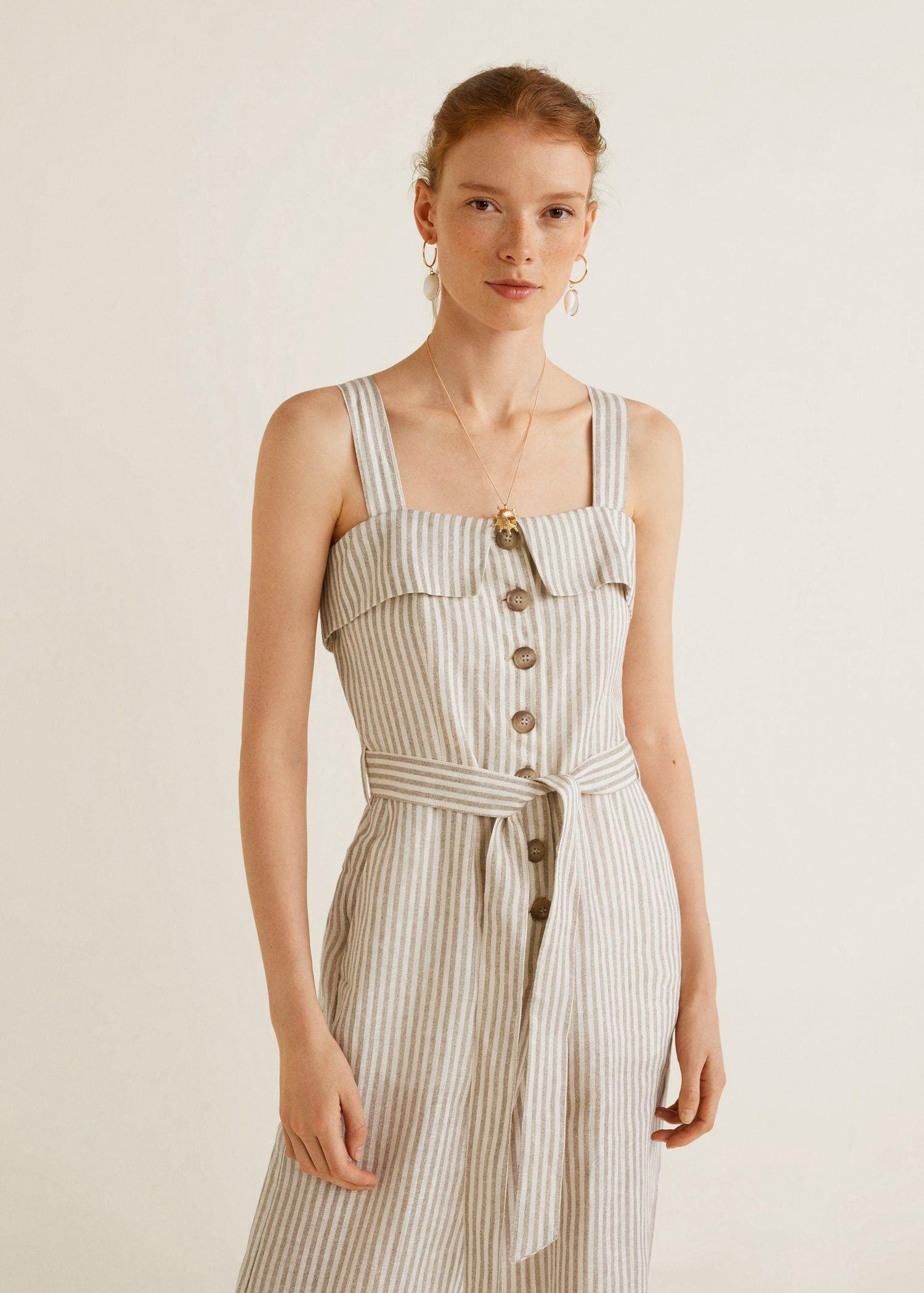 0481ce233c5 Mango Linen-Blend Striped Jumpsuit - XXS