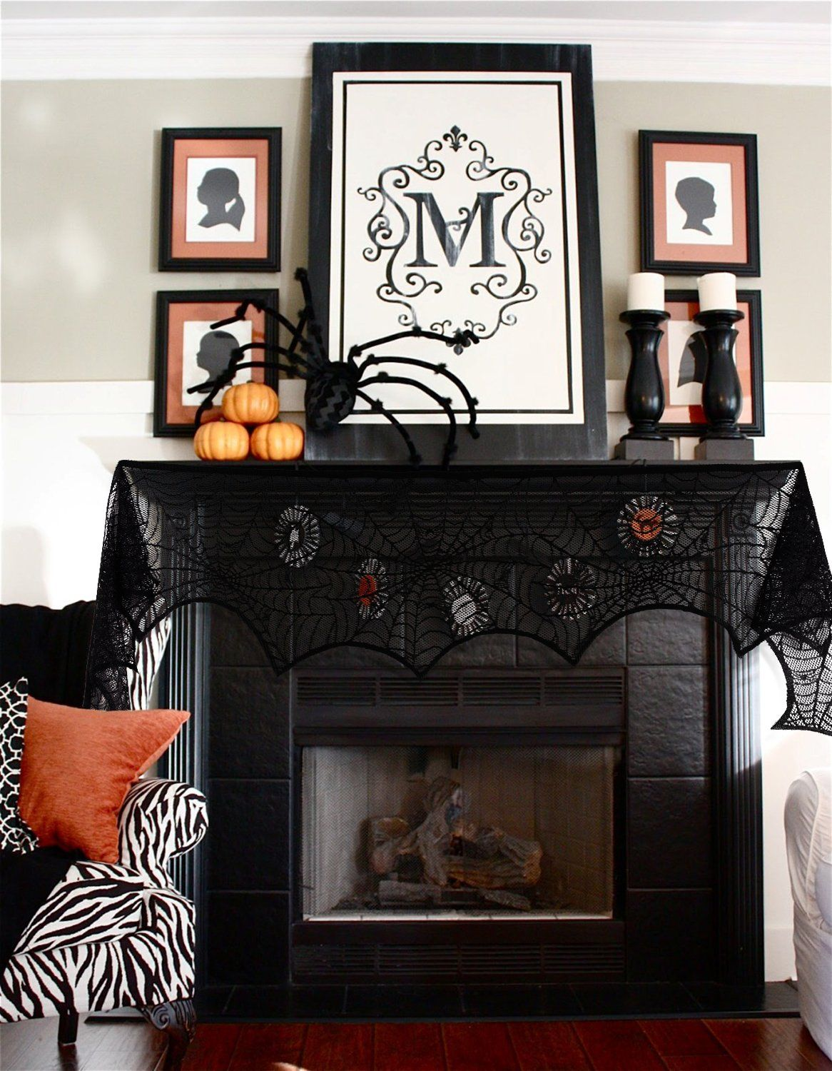 Jollylife ct halloween decorations spiderweb lace scarf mantel