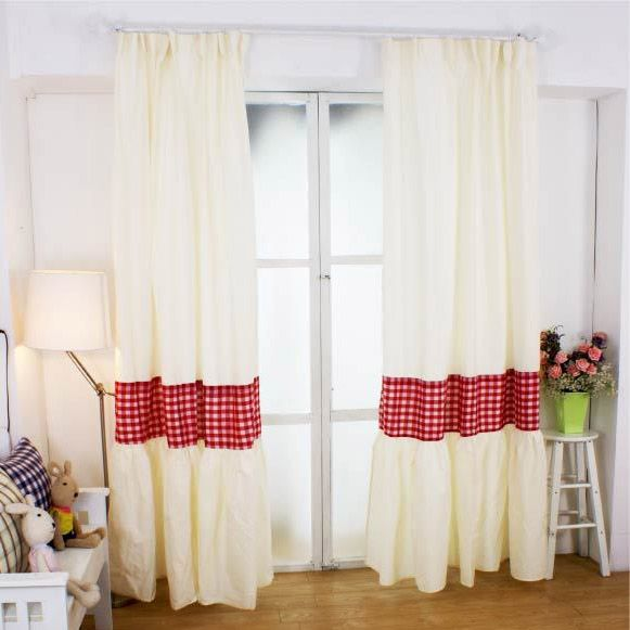 Designed Red/White Plaid Country Curtains For Living Room ...