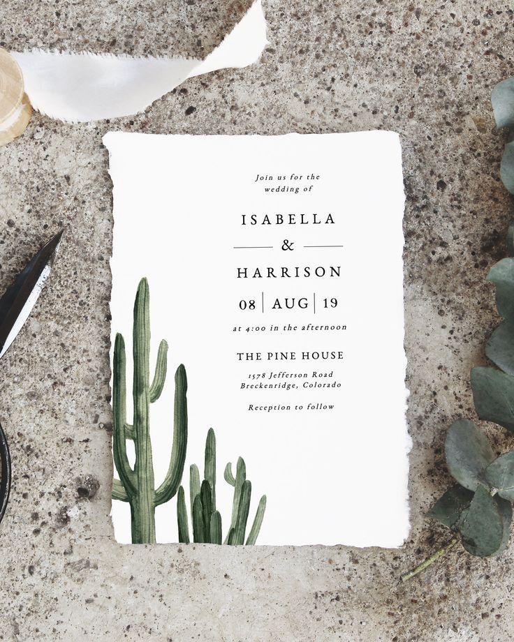 Eleanor -Modern Saguaro Wedding Invitation Suite Template, Cactus Wedding Invitation, Desert Wedding Invitation, Minimal Wedding Invite
