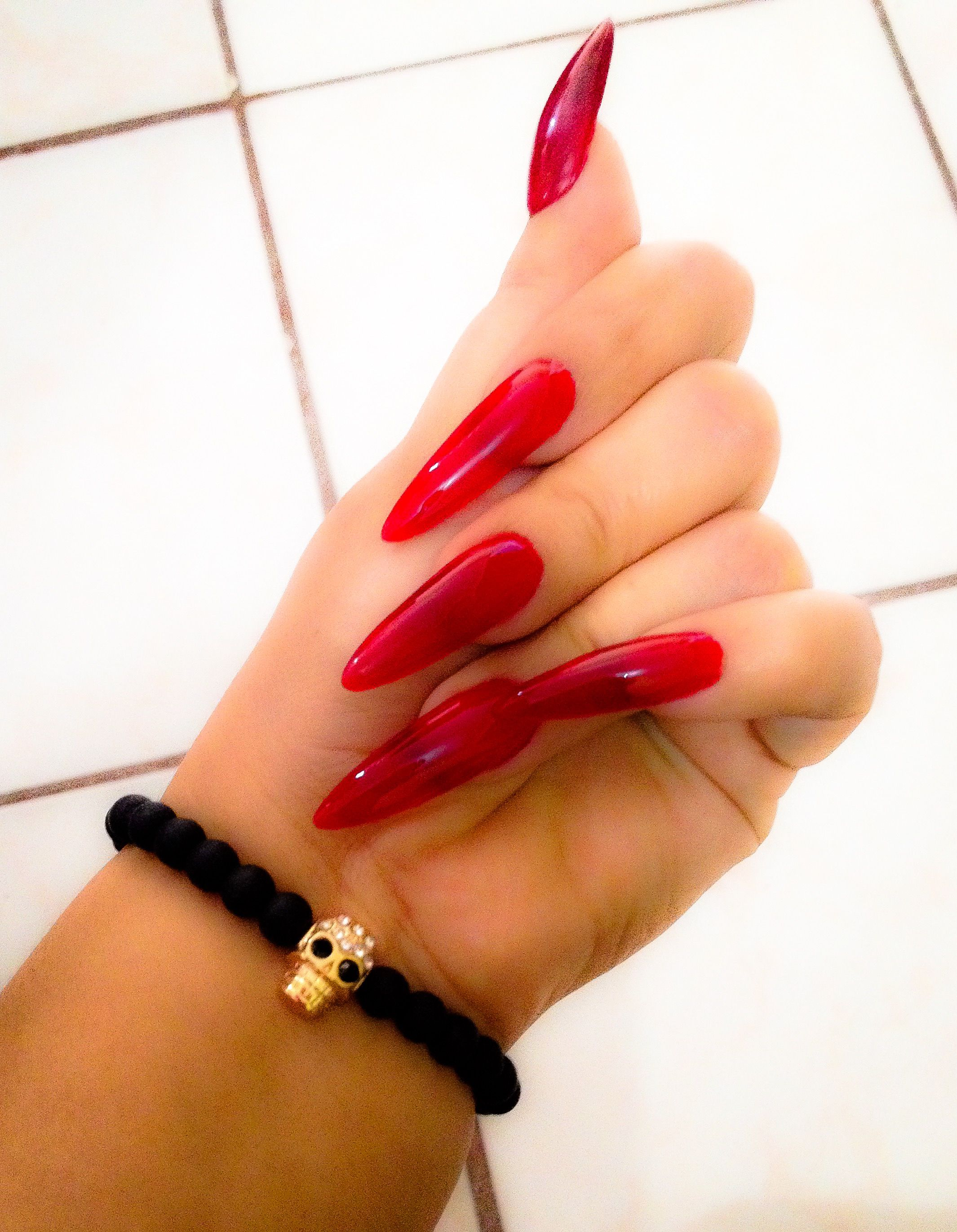 Red Stiletto nails   1. Double Team + Dynamicpunch Amazing Powerful ...