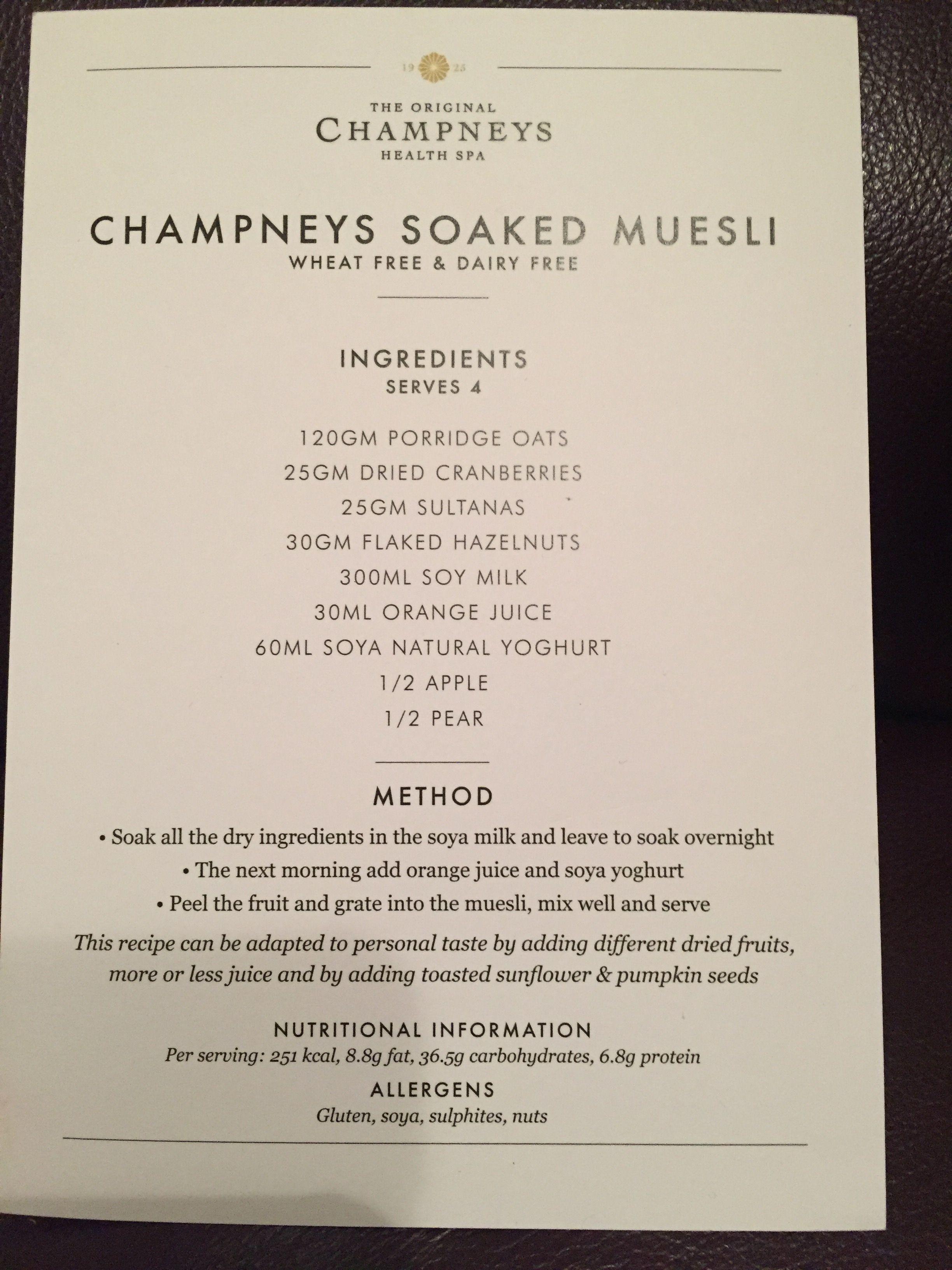 Champneys soaked muesli Muesli, Porridge oats, Dried