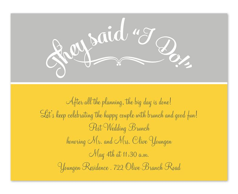Amazing They Said I Do Yellow U0026 Grey Post Wedding Brunch Invitation