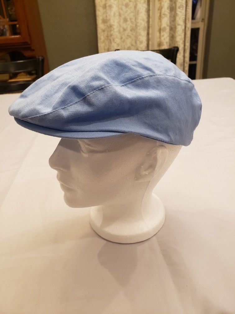3b229341 Sean Johnson boy Flat Cap youth Baby blue lightweight cotton dress hat  church