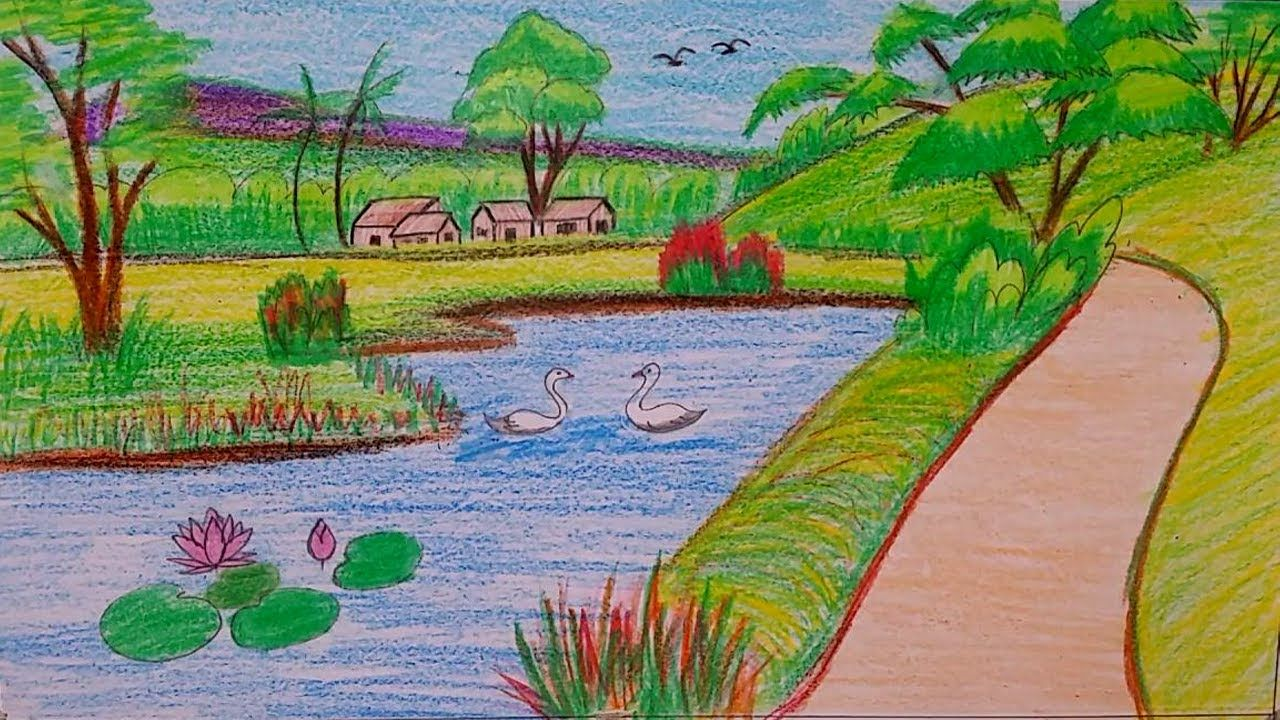 Natural Scenery Drawing Tutorial For Kids By Oil Pastel Colors Youtube Beautiful Nature Pictures Easy Nature Drawings Nature Pictures