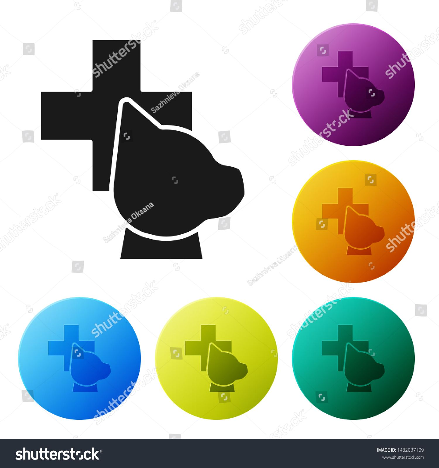 Black Veterinary clinic symbol icon isolated on white