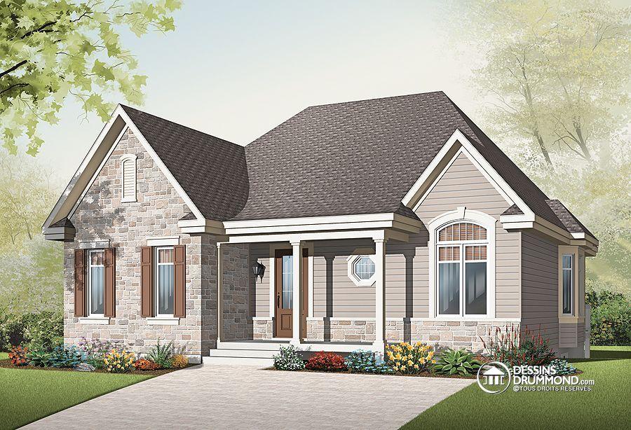 Plan de Maison unifamiliale W2163-V1,Du0027abord, à lu0027extérieur, on
