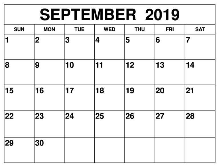Printable September 2019 Calendar Waterproof Free Printable