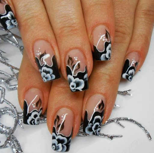 Black white flower nail art design nails pinterest flower black white flower nail art design mightylinksfo