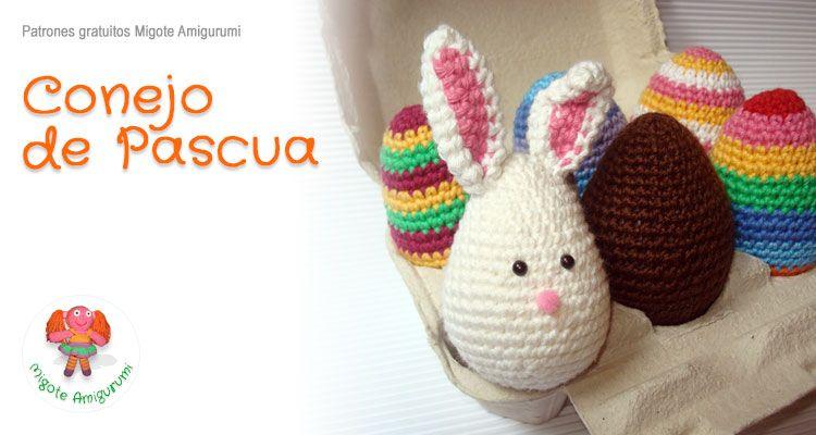 Conejo Amigurumi Patron Gratis : Patrón gratuito conejo de pascua migote amigurumi pascua