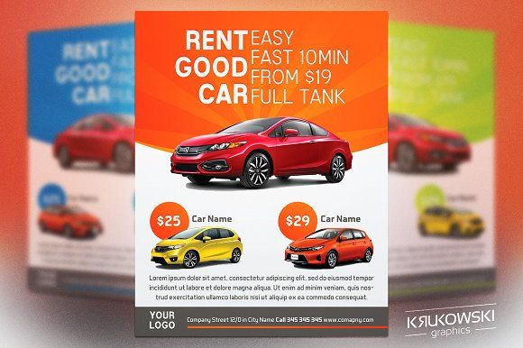Car Rental Flyer Template by Krukowski Graphics on @creativemarket - car flyer template