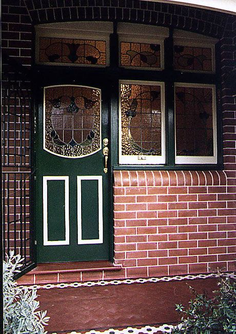 Federation House Stained Glass Doors Green Front
