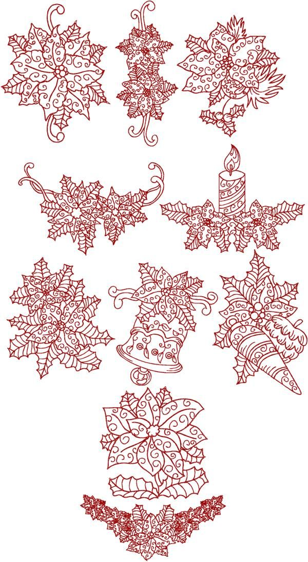 Christmas Poinsettia Redwork Set Machine embroidery