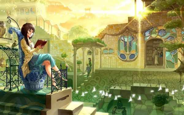 Girl Reading A Book Wallpaper Anime Girl Reading Fantasy Art Books