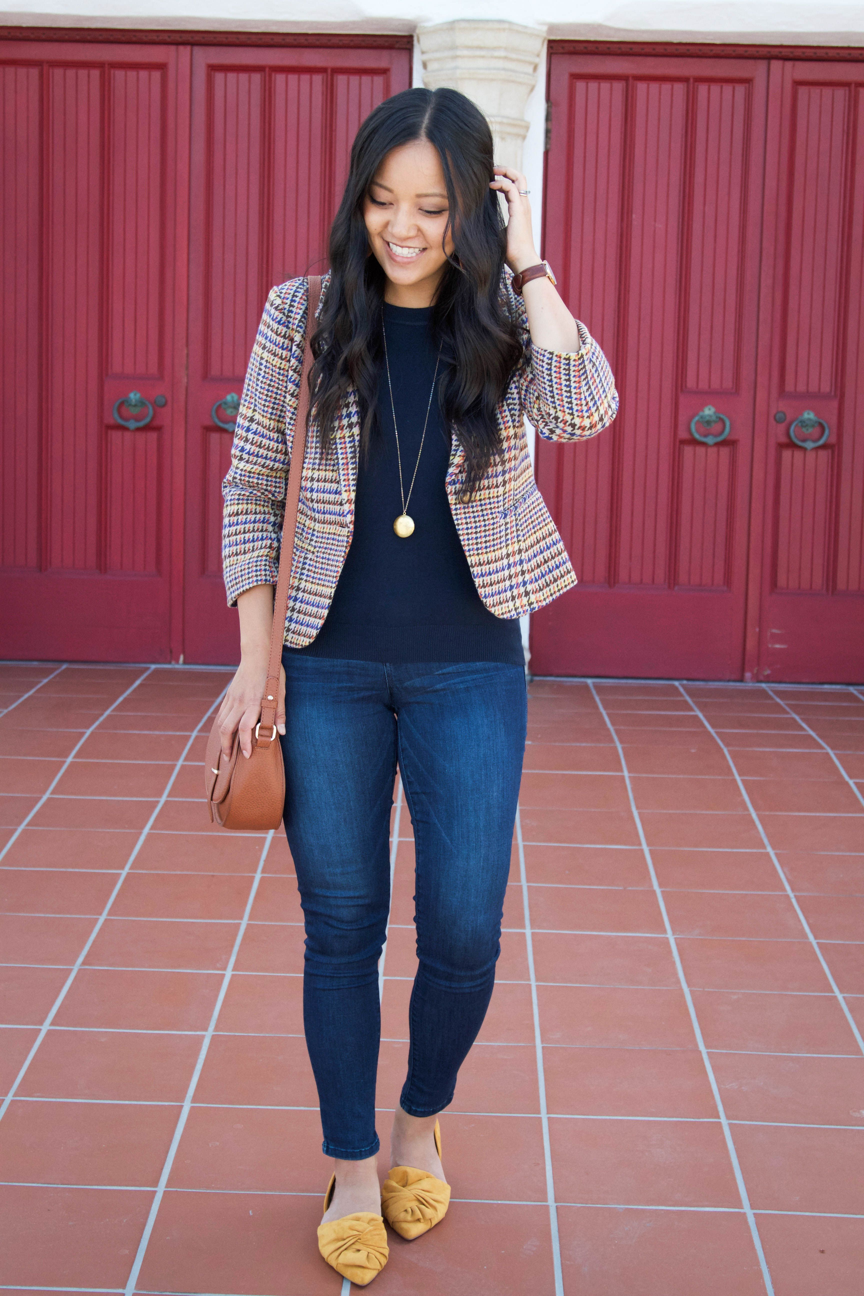 Tweed Blazer + Navy Sweater + Skinnies + Mustard Flats + Gold Necklace 1a086e4f9