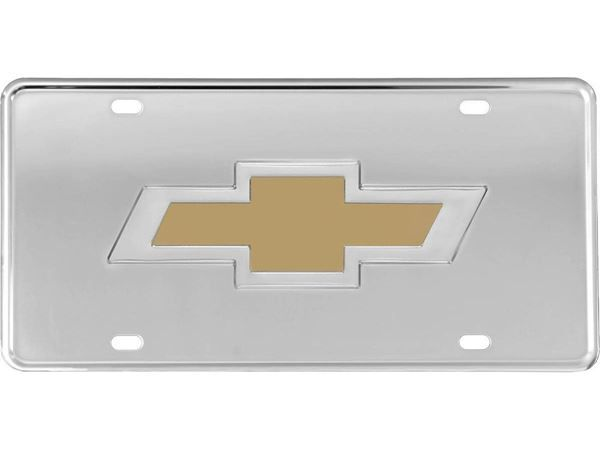 CHEVROLET LICENSE PLATE RED BOWTIE BLACK CHEVY SIGN EMBOSSED METAL CAR TRUCK