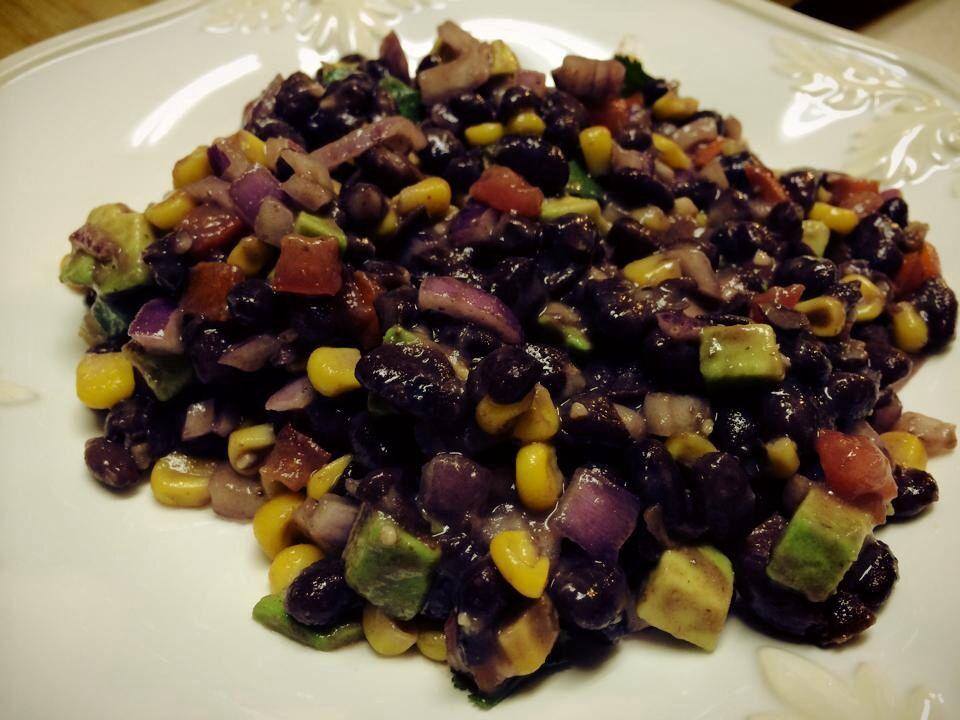 Chris Eaton Black Bean Salad:  black beans, avocado, red onion, corn, red pepper, cilantro, tomato, lime and sea salt.