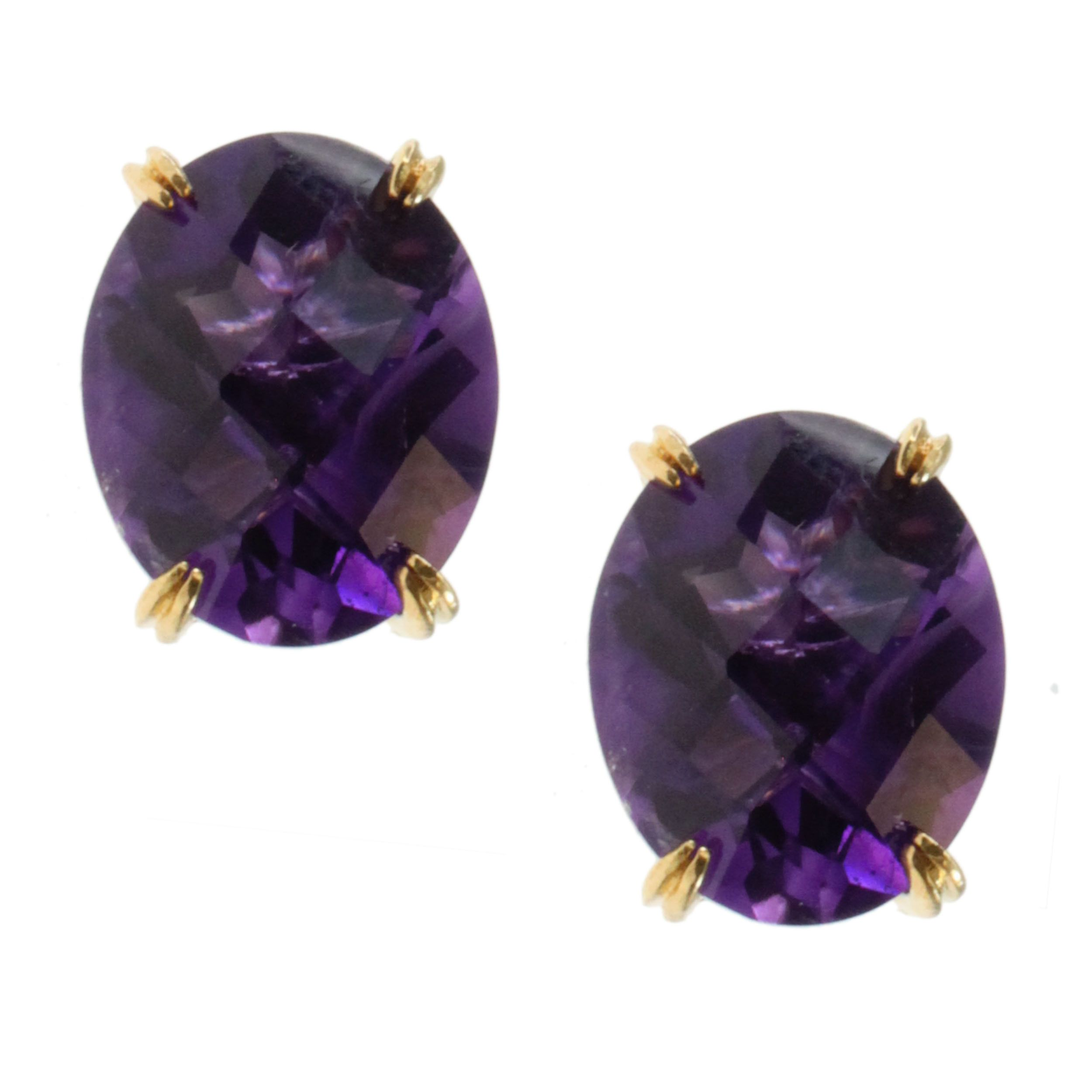 Michael Valitutti Gold over Silver Amethyst Stud Earrings